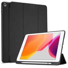 """IPad 10.2 2019 용 새 태블릿, 세대 10.2 """", 자동 잠자기/수면 및 연필 홀더가있는 부드러운 TPU 뒷면 보호 스마트 케이스"""