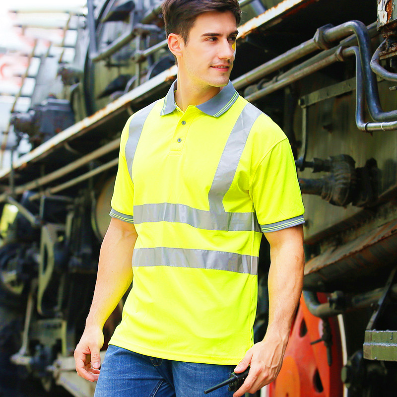 Quick Dry Safety Clothing Night Work T-shirt Reflective Tops Workwear Dri Fit T Shirt Vest Breathable Work Safety Clothe