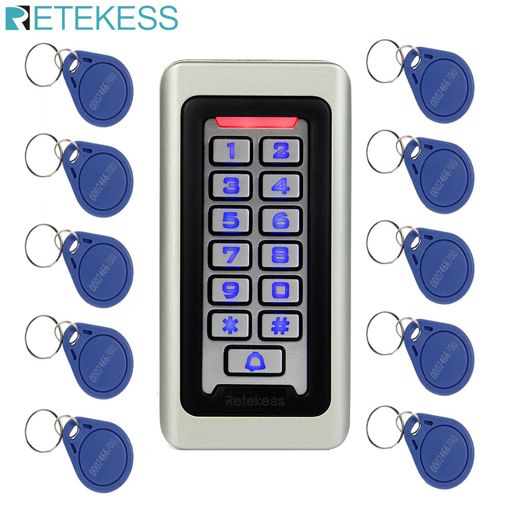 RETEKESS Access Control Keypad System RFID Door 125KHz 1 Access Control Keypad + 10 RFID Keyfobs Cards With 2000 Users F9501D
