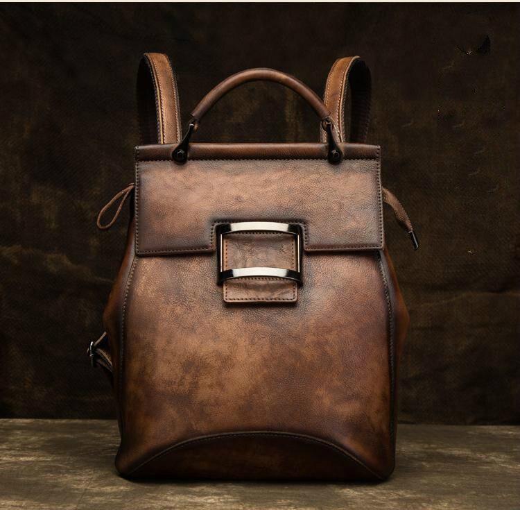 vintage cor sólida bagpack artesanal de grande