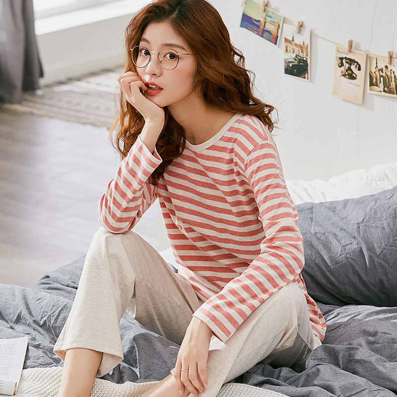 Pajamas Women's Long Sleeve Classic Pajamas for Women Striped Plus Size Knitted Pink Cotton Ladies Female Homewear Suit