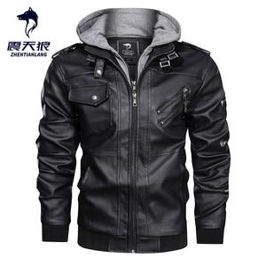 Image 1 - Blouson en similicuir PU chaud à capuche homme, coupe vent, pour moto, automne hiver offre spéciale, vêtements pour hommes