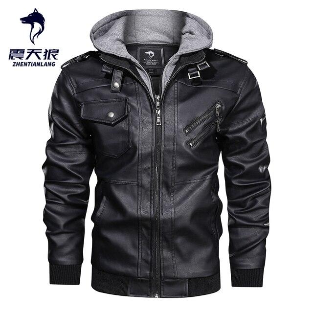 Blouson en similicuir PU chaud à capuche homme, coupe vent, pour moto, automne hiver offre spéciale, vêtements pour hommes
