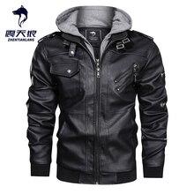 Hot sale Autumn Winter Motorcycle Leather Jacket Men Windbreaker Hooded PU Jackets Male Outwear Warm Faux Leather Jackets 2020