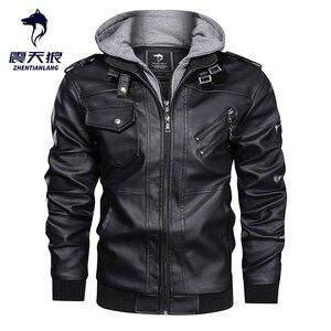 Image 1 - ホット販売秋冬オートバイの革のジャケット男性ウインドブレーカーフード付き pu ジャケット男性生き抜く暖かいフェイクレザージャケット 2020