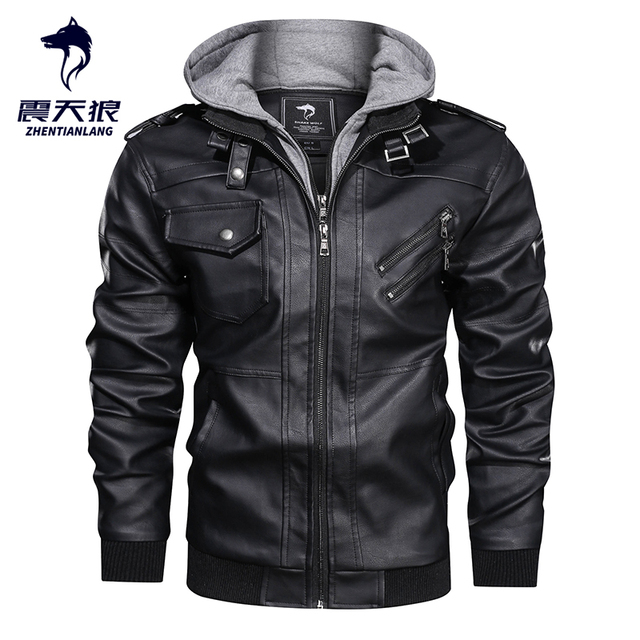 ホット販売秋冬オートバイの革のジャケット男性ウインドブレーカーフード付き pu ジャケット男性生き抜く暖かいフェイクレザージャケット 2020