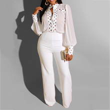 Office Sexy Two Pieces Women Sets Elegant White Black Blouse Long Sleeve Mesh See Through Wide Pants Fashion Outfit Plus Size mock neck see through mesh blouse
