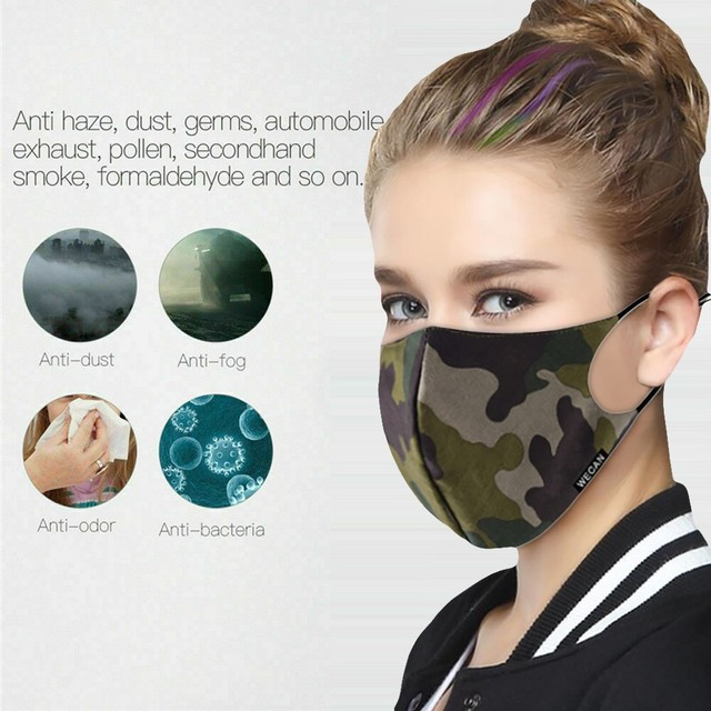 Outdoor Reusable Protective Pm2.5 Filter Camouflage Mouth Mask Dust Face Mask Windproof Mouth-muffle Bacteria Proof Flu Mask AP4 4