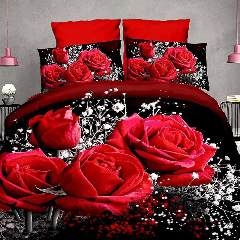 LANGRIA 3d Rose Print Bedding Sets 3 Sizes 2/3 Pcs Bed Linen Sets Bedroom Hotel Home Duvet Cover Set Bedding Sets Pillowcase Set