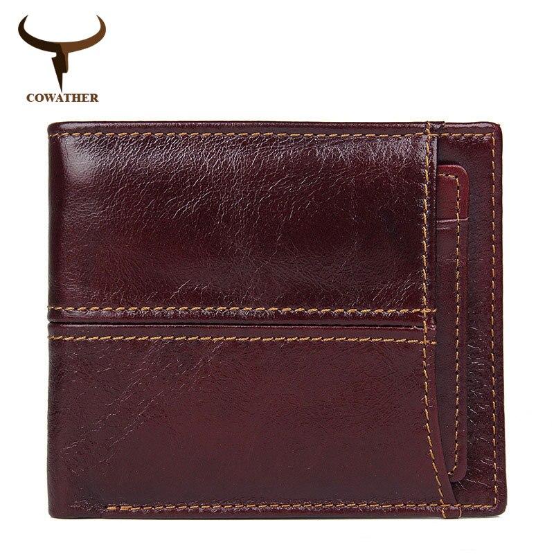 COWATHER kuh echtes leder brieftasche für männer top qualität rindsleder männlichen geldbörse karte halter brieftasche mode design RFID Blocking