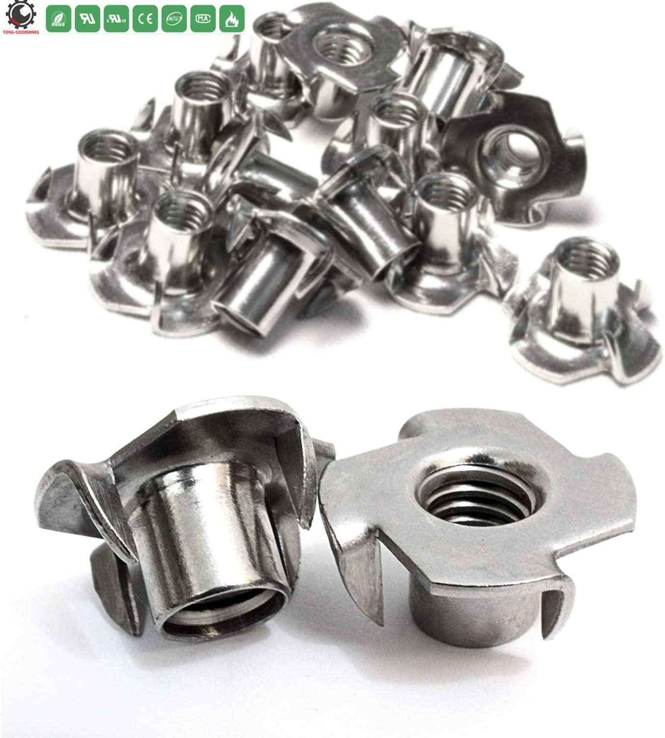80pcs T Nuts Carbon Steel Four-Pronged Tee Nuts M3//4//5//6//8 Wood Tee Blind Nut T-Nut for Woodworking Furniture Cabinetry