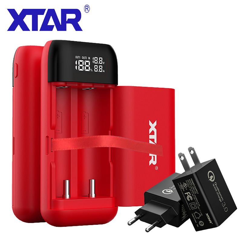 New XTAR VC2S Fast LCD USB Battery Charger Power Bank 18650 // AA // AAA // C