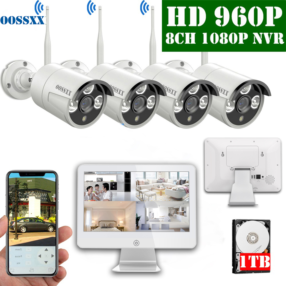 8CH 1080P Wireless NVR Kit 12.5' LCD display outdoor 960P 1.3M IP66 Security Camera  wifi cctv camera system video surveillance Surveillance System     - title=