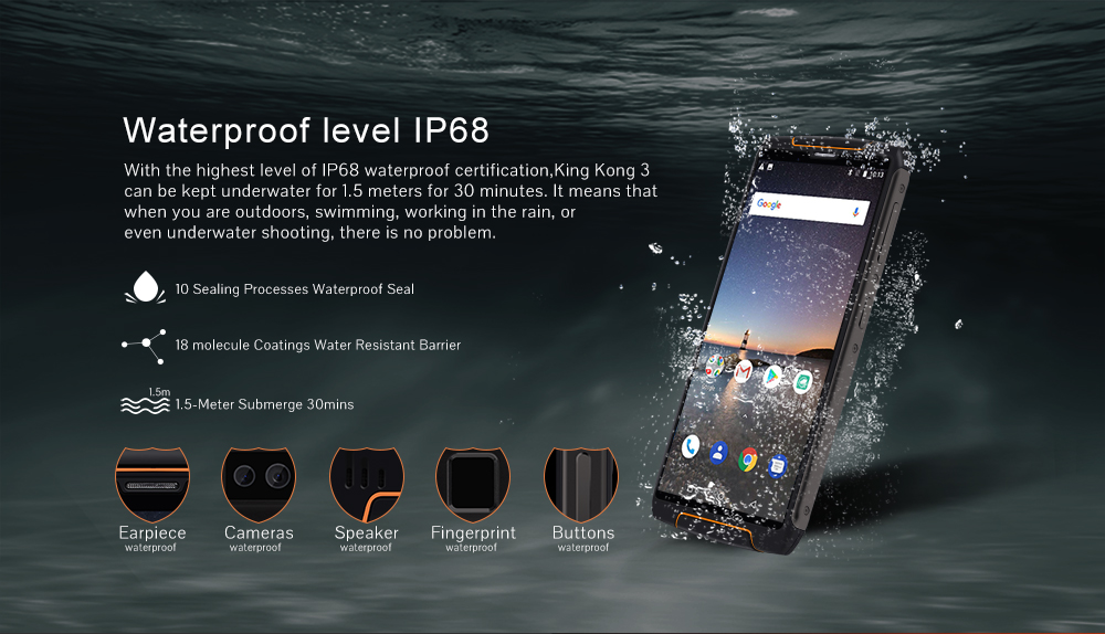 Cubot King Kong 3 Rugged Refurbished Blackview Phone With 6000mAh Battery And 4GB RAM 64GB ROM 13