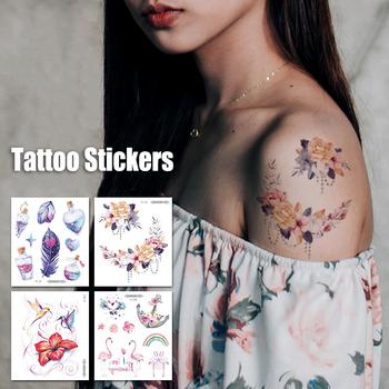 Akwarela kobiety tatuaż tymczasowe pióro kwiaty meduzy Transfer tatuaż naklejki dla dziewczyny DIY wodoodporny korpus naklejki artystyczne tanie i dobre opinie Jedna jednostka CN (pochodzenie) 105*120mm Zmywalny tatuaż cartoon Transfer sticker