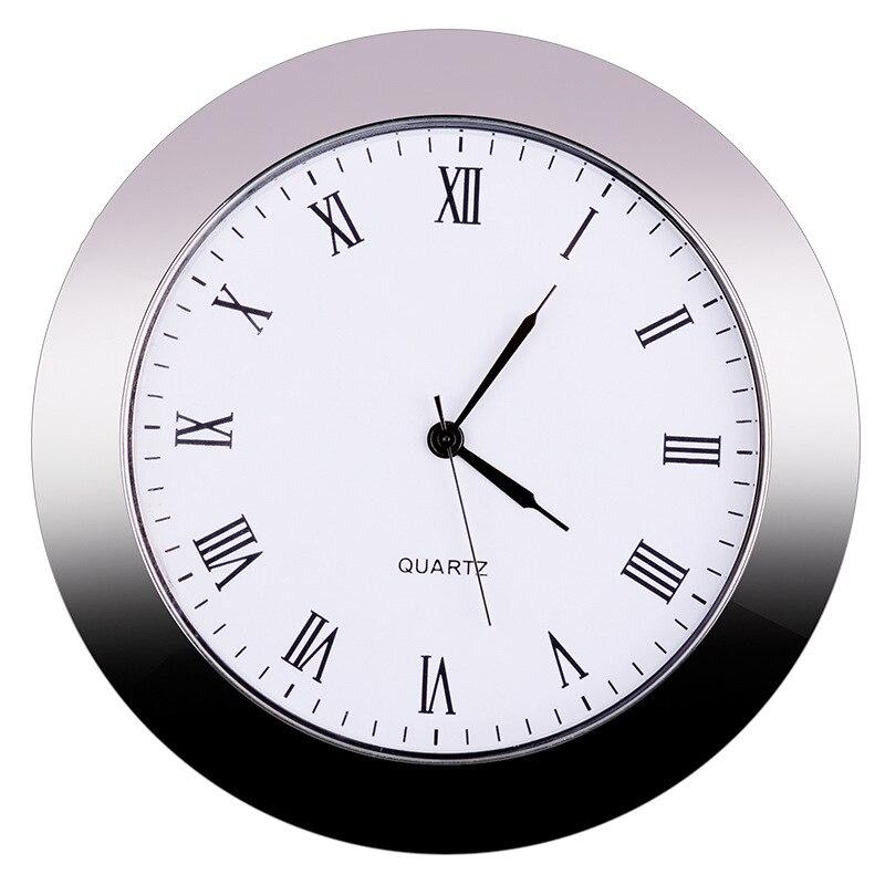 미니 시계 쿼츠 무브먼트 라운드 60mm 홀 화이트 페이스 실버 톤 베젤 로마 숫자 65mm 시계 페이스 2.56 인치