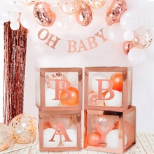 Rose  Transparant Brief A-Z Box Custom Baby  Baby Shower Decoraties Baby 1st  Party Decor