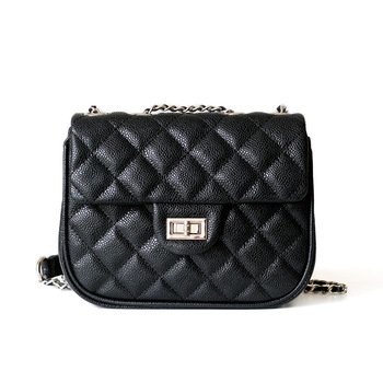 Genuine leather women bag Summer new lattice leather handbag chain rotating lock three-layer pouch shoulder bag GN-SB-scyzzp