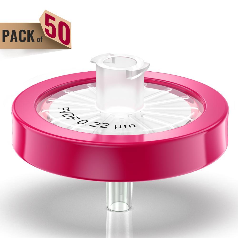 Syringe Filters,PVDF Membrane 0.22μm Pore Size,25mm Diameter,50 Pcs Individually Packed By Ks-Tek