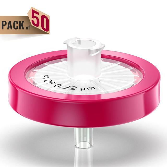 25mm Membrane Diameter, Syringe Filters PTFE Membrane Hydrophilic Filtration,0.22um Pore Size Pack of 100