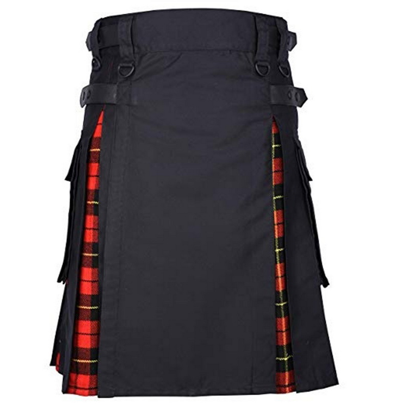 DIHOPE Scottish Mens Kilt Traditional Plaid Belt Pleated Bilateral Chain Brown Gothic Punk Scottish Tartan Trousers Skirt New