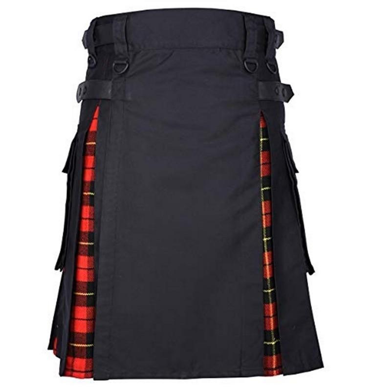 DIHOPE Scottish Mens Kilt Traditional Plaid Belt Pleated Bilateral Chain Brown Gothic Punk Scottish Tartan Trousers Skirt New