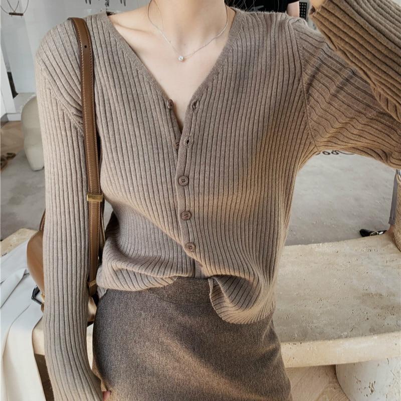 Women Spring Tender Elegant V Neck Long Sleeve Sweater Knitted Tops Single Breasted Cardigan Coat Jacket Casual Slim Outwear
