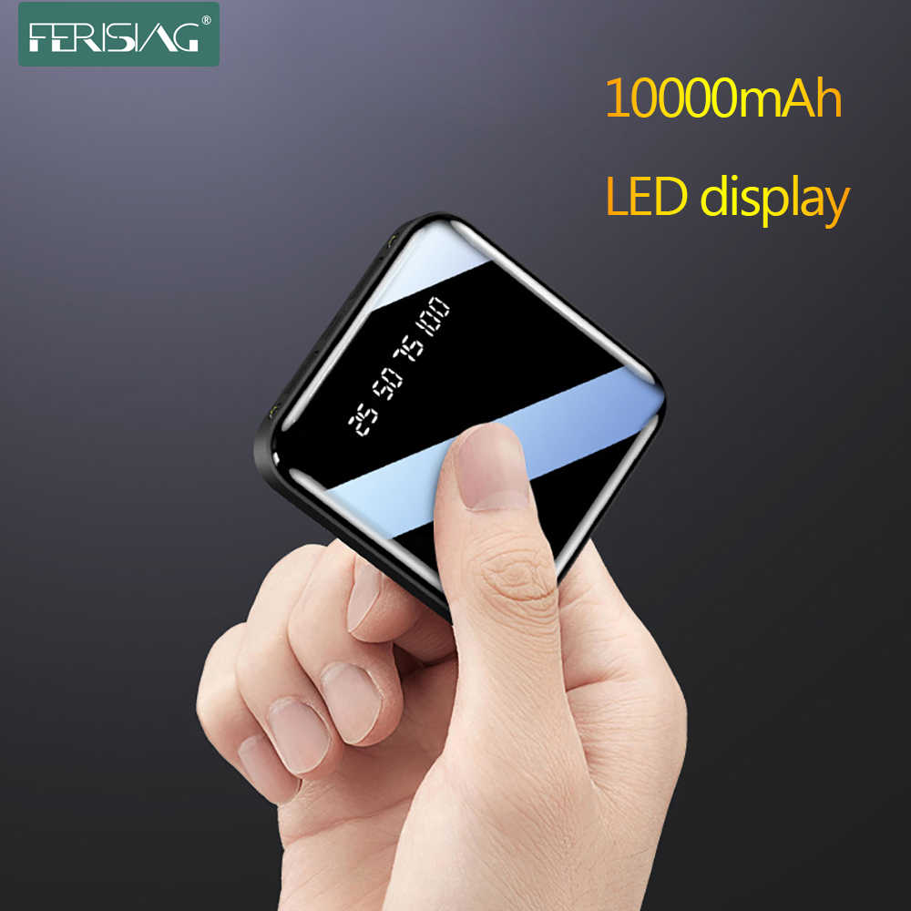 Ferising Mini 10000Mah Power Bank Led Digitale Display Usb Externe Pover Batterij Draagbare Zaklamp Spiegel Powerbank Voor Xiaomi
