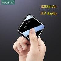 Ferzing Mini 10000mAh Power Bank LED Display digitale USB batteria esterna Pover torcia portatile specchio Powerbank per Xiaomi