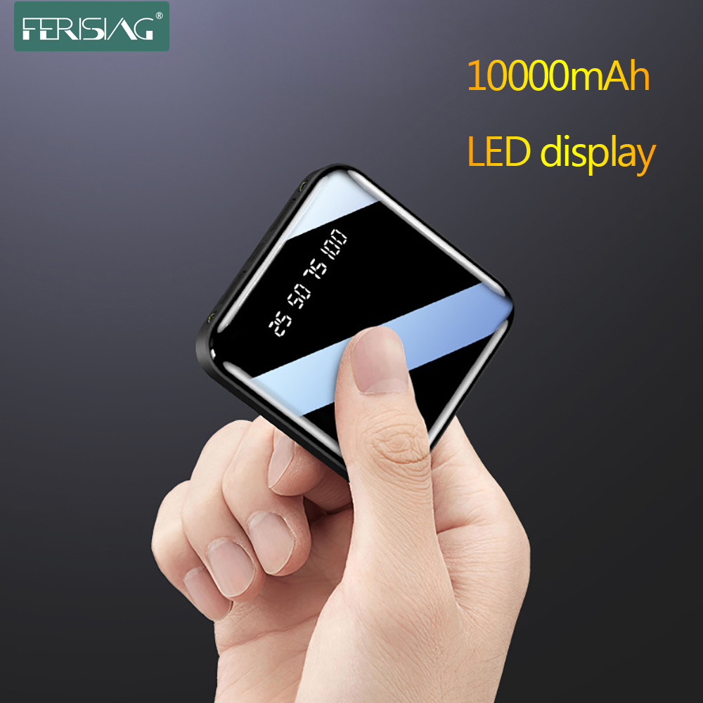 Mini batterie de puissance 10000mAh LED affichage numérique USB externe batterie Portable lampe de poche miroir Powerbank pour Xiaomi