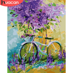 HUACAN DIY Pictures By Number Bicycle Flower Kits Home Decor Paint By Number Drawing On Canvas HandPainted Painting Art Gift