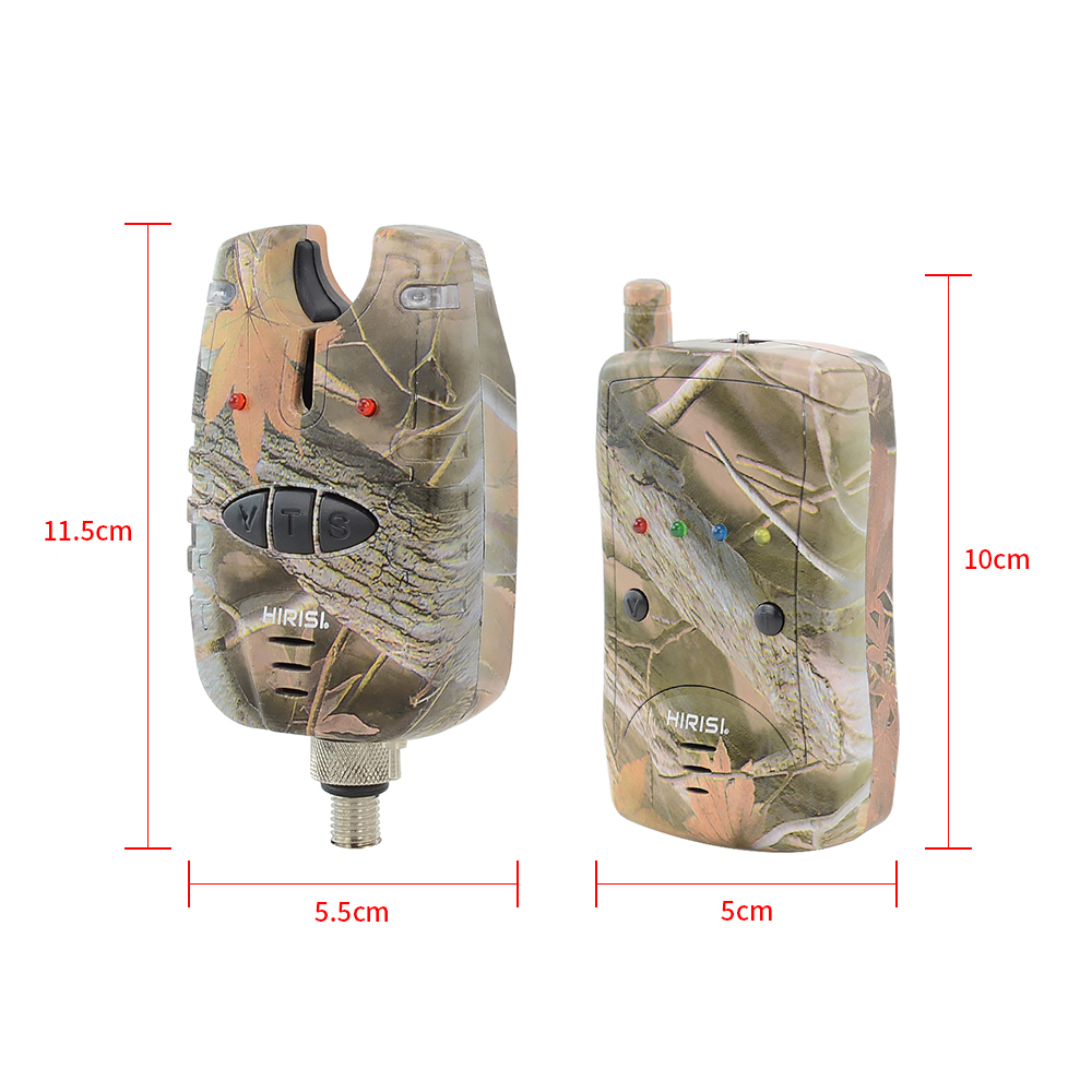 Carp Fishing Bite Alarm Set Waterproof 1+ 4 Camouflage Color Wireless Fishing Alarm B1208-3