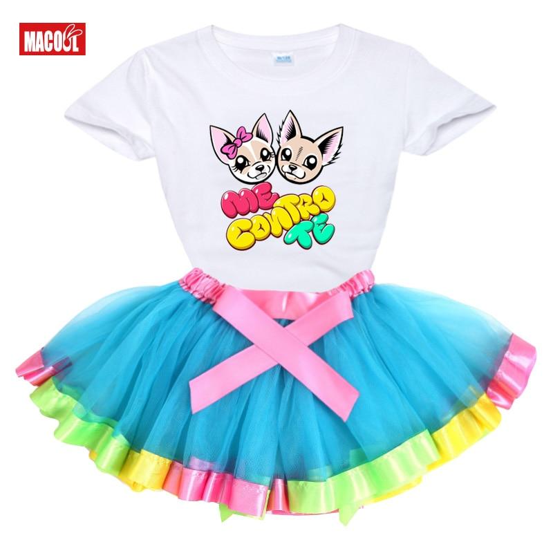 girls set tutu dress me contro te  2020 Summer girl t shirts Rainbow tutu dress  t shirt Kids toddler baby cute dress Princess