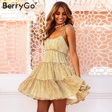 BerryGo סקסי פרחוני הדפסת boho שמלת נשים גבירותיי שיק חוף רצועת מיני שמלות ללא שרוולים ספגטי רצועת אביב קיץ שמלה