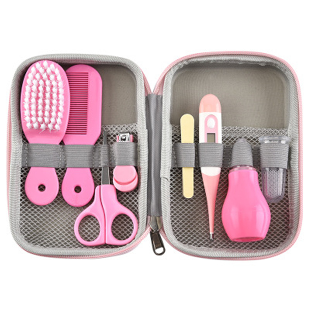 8Pcs/Set Portable Baby Health Care Kit Newborn Baby Grooming Kit Nail Clipper Scissors Hair Brush Comb Safety Care Set Baby Care