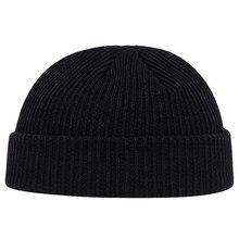 秋冬メロンキャップメンズ女性ニット帽子ビーニータツナミソウセーラーキャップカフ縁なしのレトロネイビースタイル帽子キャスケット