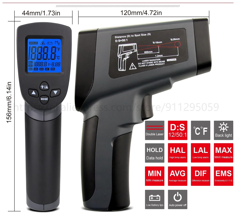 Kaemeasu Digitale Infrarood Thermometer -50 ~ 1600 Meetbereik, Non-contact, Veiligheid, Koken, industriële Elektronische Thermometer Pistool 18