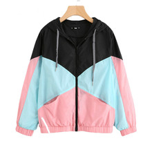 New Women Jacket Hooded Sport Patchwork Coat Women Long Sleeve Zipper Jackets and Coats Spring Autumn Sweetwear Jacket цена и фото
