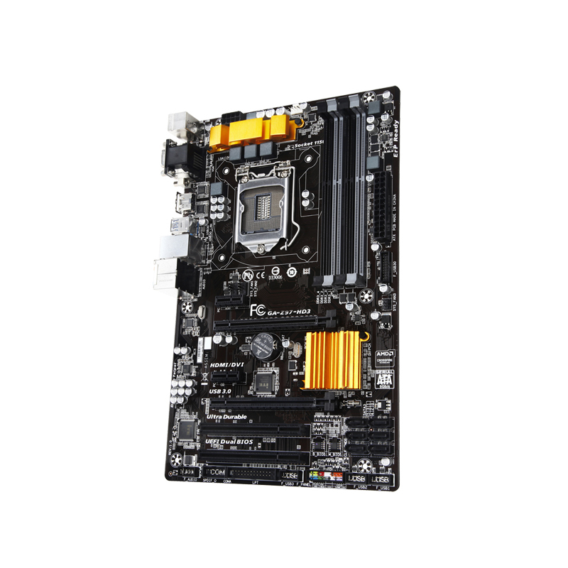 For Gigabyte GA-Z97-HD3 Desktop motherboard MB Intel Z97 LGA 1150 ATX DDR3 32GB SATA3.0 USB3.0 Gigabit nics 100% fully Tested 7
