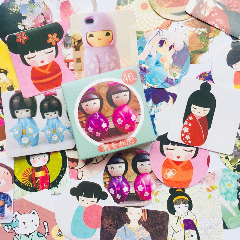 46pcs /Pack Kawaii Kimono Japanese Girl Doll Paper Decorative Stickers Computer Decoration