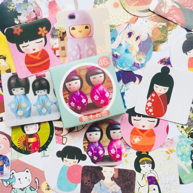 46pcs /Pack Kawaii Kimono Japanese Girl Doll Paper Decorative Stickers Computer Decoration