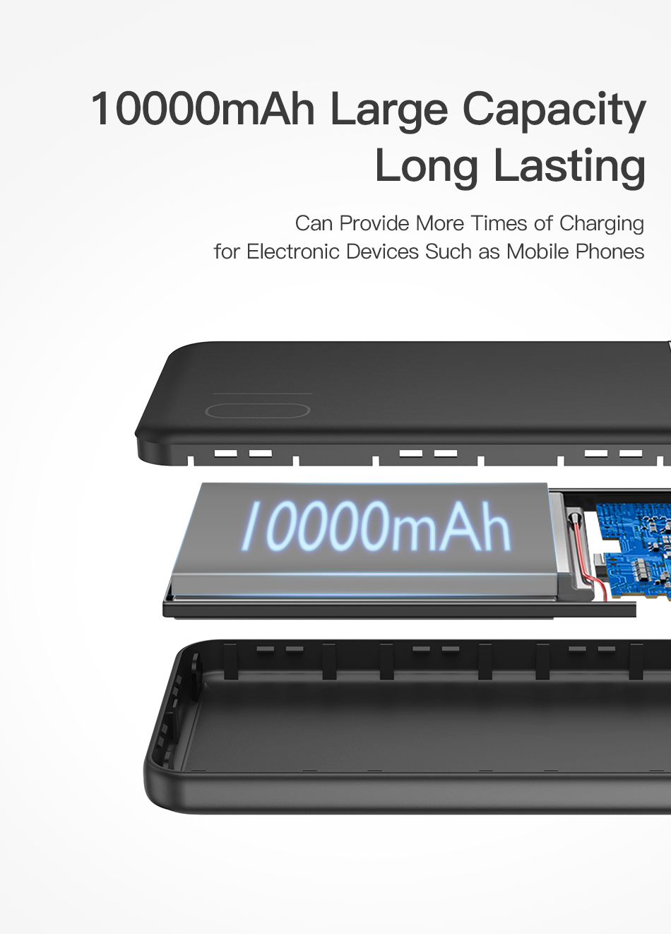 KUULAA Power Bank 10000mAh Portable Charging PowerBank 10000 mAh USB PoverBank External Battery Charger For Xiaomi Mi 9 8 iPhone 6