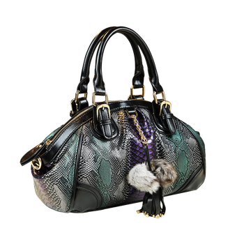 ICEV soft zipper high quality women leather handbag famous brand large capacity tote serpentine panelled shoulder bag top handle