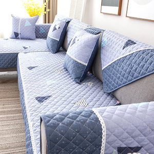 Image 3 - Four seasons universal sofa cushion, non slip Nordic cotton cotton fabric back towel all inclusive universal cover