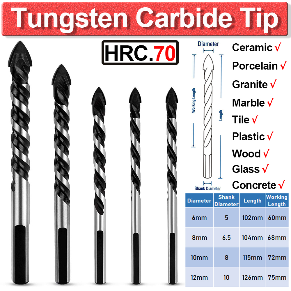 5Pc Multi-Material Tungsten Carbide Tip Tile Drill Bits For Porcelain Ceramic Concrete Brick Wall Glass Mirrors Wood 6-12mm D35