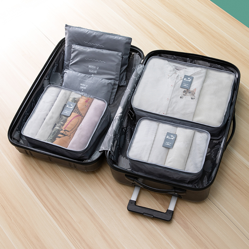 6Pcs/Set Travel Luggage Organizer Packing Set Unisex Cube Mesh Bag Large Capacity Luggage Storage Sorting For Clothing Shoe