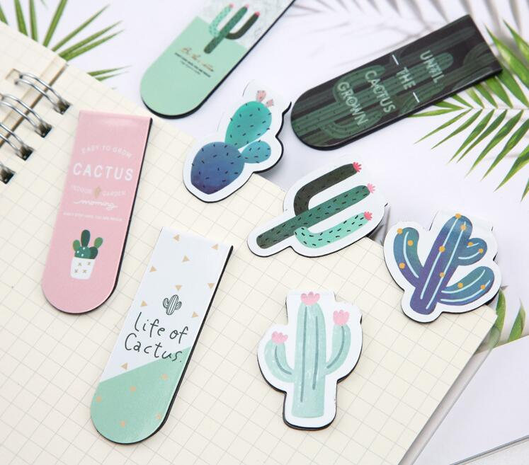 2 Pcs/lot Little Cute Cactus Plant Magnet Bookmark Paper Clip School Office Supply Escolar Papelaria Gift Stationery