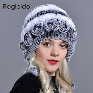 Image 5 - womens hat winter warm rabbit fur hats with pearls fashion striped unique design natural fur bomber hats female ball caps