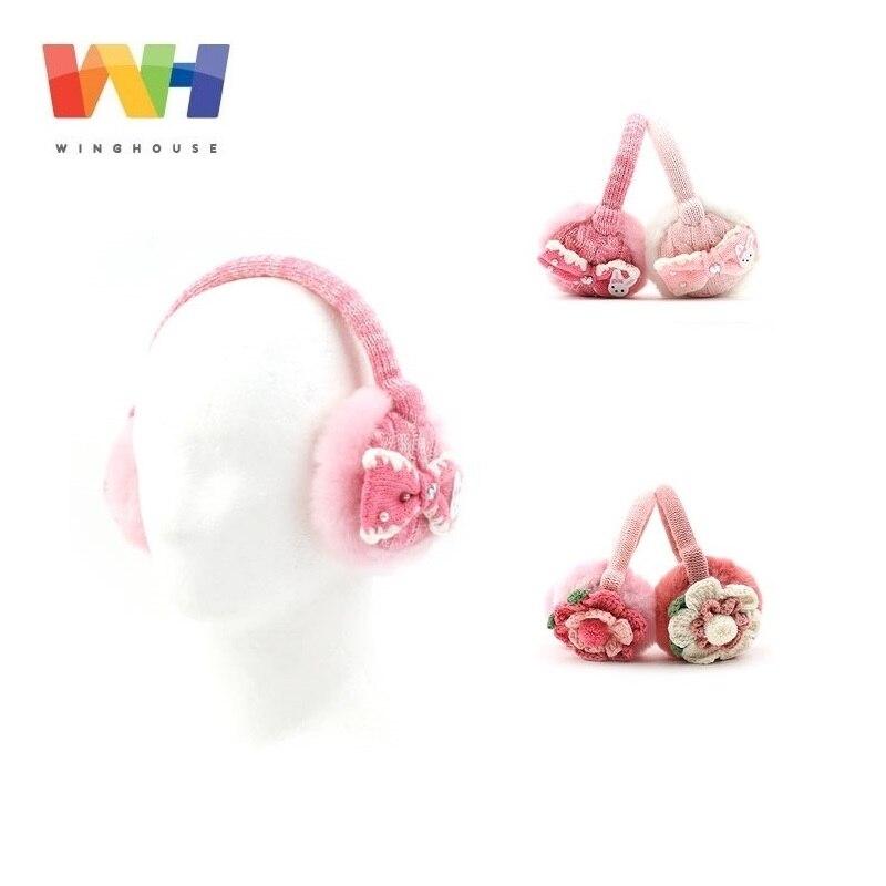 Winghouse Children Earmuffs Cartoon Rabbit Flowers Decorated Earbags Girl Ear Cover Plush Earplugs Warm Kids Winter Headphones