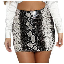 Skirts Womens Fashion Sexy Snake Print Zipper Slim Short Leatherwear Mini Skirt Джинсовая Юбка Юбка Карандаш 2020 Summer(China)